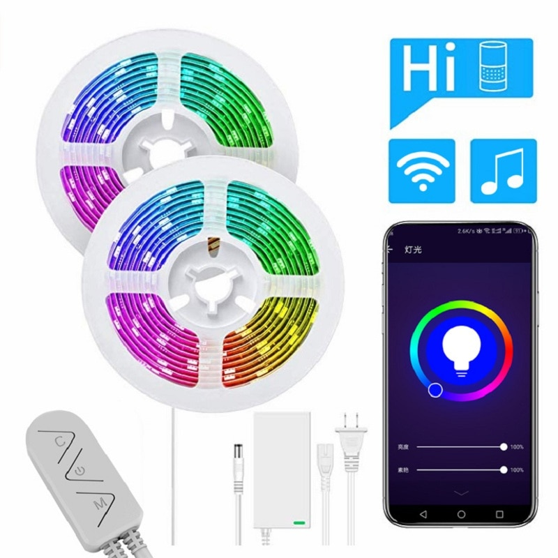 RGB LED Strip Lights 16.4ft/5m SMD5050 WiFi Smart Waterproof Color Changing Strips App & remote control for home decoration