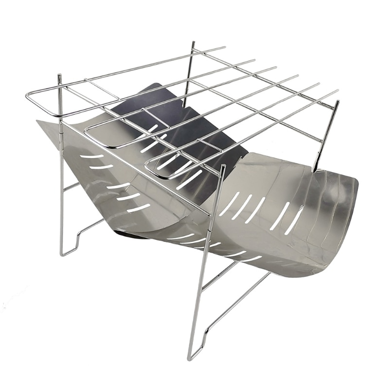 Ultralight Outdoor Stainless Steel BBQ Rack Portable Wood Stove Burner Multifunctional Folding Barbecue Charcoal Stove