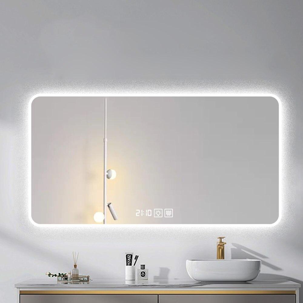 LED مرآة مضيئة مستطيل الذكية المكياج الحمام منضدة زينة بمرآة التجميل العناية بالعين الحائط مرآة مضيئة