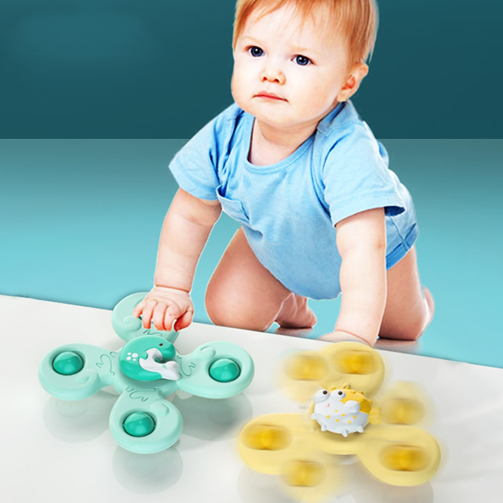 3PCS Baby Bath Toy Hand Spinner Toys With Aquatic Creatures Suction Cup Toys Safe Interesting Baby Bath Toys Spin Toy For Kids enlarge