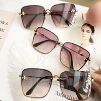 2020 new fashion lady oversize rimless square bee sunglasses women men small bee glasses gradient sun glasses female uv400