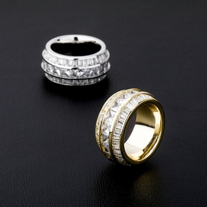Fashion Hip Hop Cubic Zirconia Ring Women Men 3 Rows CZ Stone Round Finger Rings Bling Iced Out Rapper Jewelry New