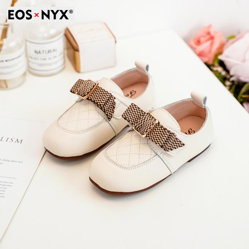EOSNYX Children's Flats Shoes Light Soft Leather Casual Girls Footwear Stylish Quality Slip-on Kids
