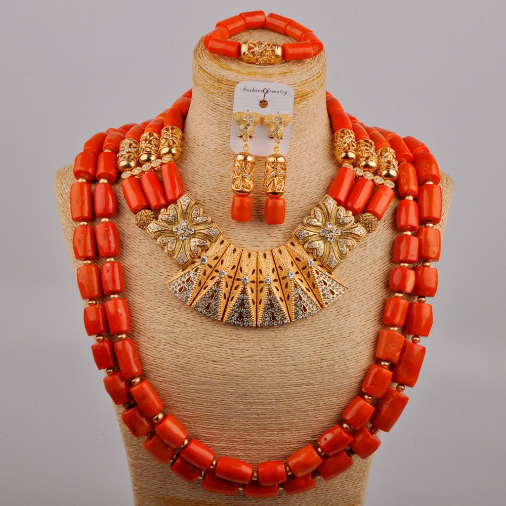 Get Fashion Costume Necklace Orange Nigerian Coral Beads Bridal Set African Wedding Jewelry Sets for Bride