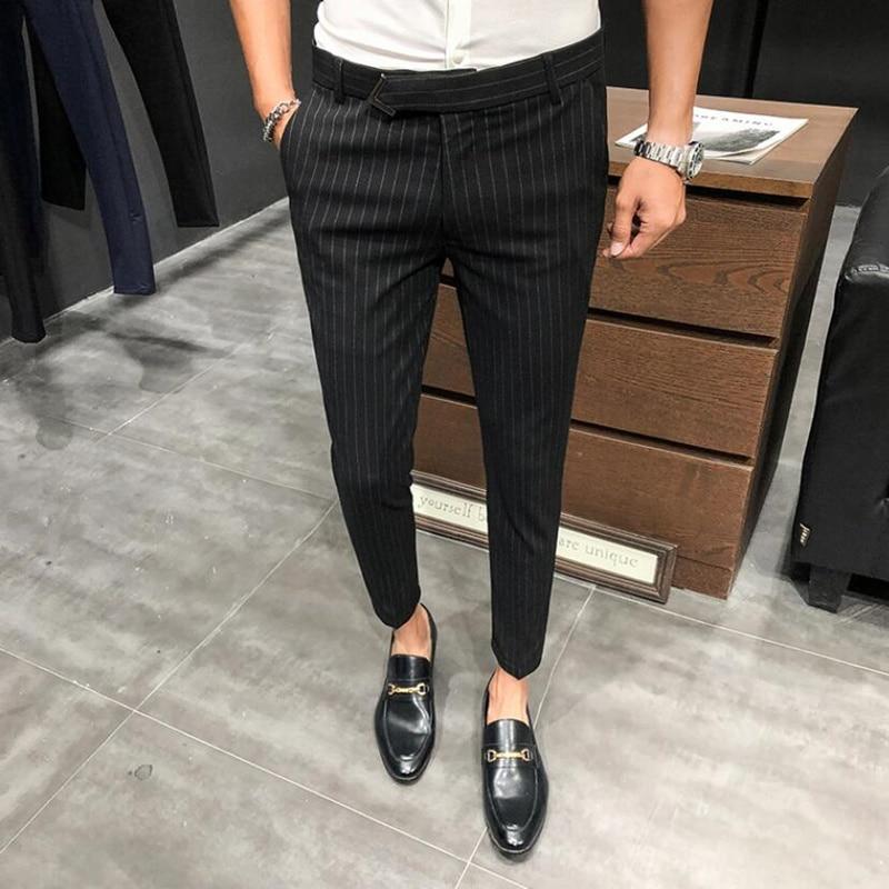 2021 British Style Dress Suit Pant Man New stripe Suit Pant Men Designer Gentlemen Business Casual Work Pant Trousers 28-36