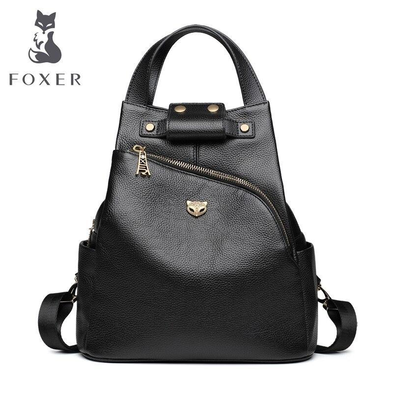 Marca FOXER, mochila de estilo Preppy para mujer, Mochila De Cuero genuino de vaca, mochilas escolares para niñas, bolsas de viaje a la moda para mujer