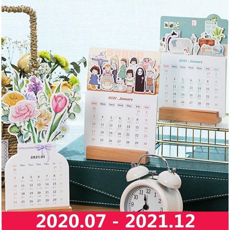 2021 Hayao Miyazaki Cartoon Family Card Calendar Cute Flower Desk Calendar Daily Schedule Planner 2020.07-2021.12