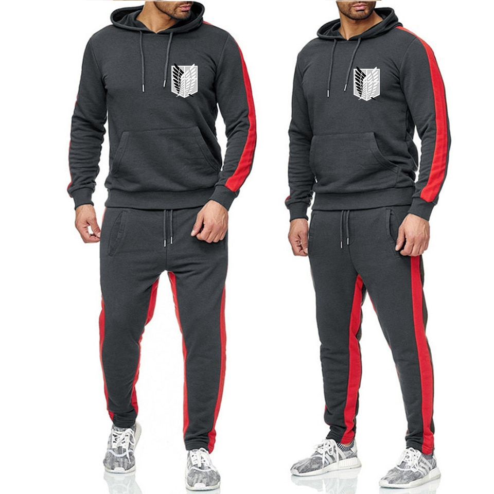 Attacking Giant Spring Autumn Men Hoodie Sweatshirt and Pants 2 Piece Sports Suit Workout Sports Wear Tracksuit Fitness Run Set