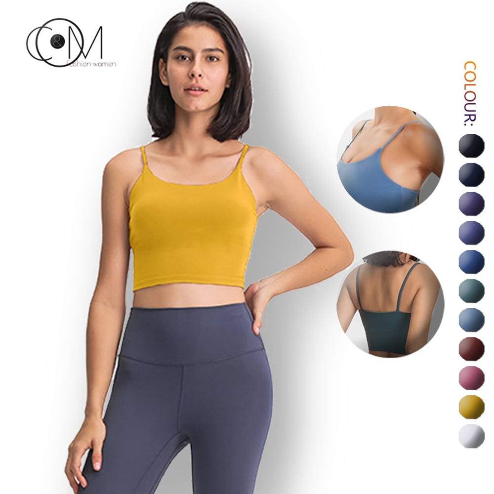 CAPMAP 2021 New Yoga Vest Women With Chest Pad Sexy Thin Belt Beautiful Back Sports Fitness Top Half