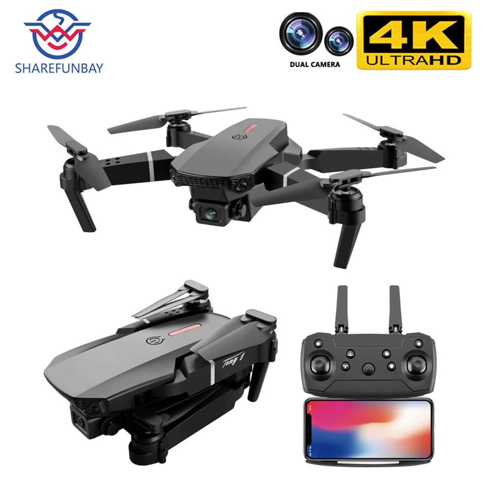 SHAREFUNBAY E88 pro drone 4k HD dual camera visual positioning 1080P WiFi fpv drone height preservat