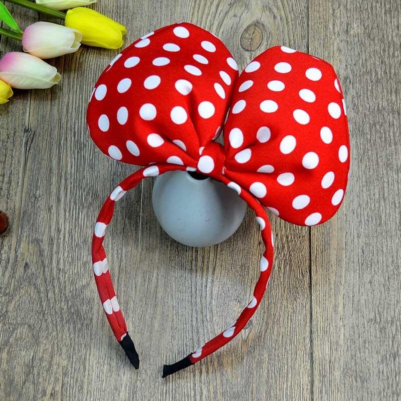 Diadema de Minnie estéreo de dibujos de Disney, diadema roja ondulada, accesorios para el cabello de Minnie, diadema con orejas de Mickey, maquillaje de imitación