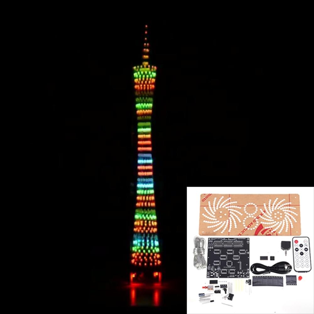DIY 32-слойный цветной LED Кантонская башня bluetooth мигающий куб музыкальный спектр Ночной свет инфракрасный пульт дистанционного управления эле...