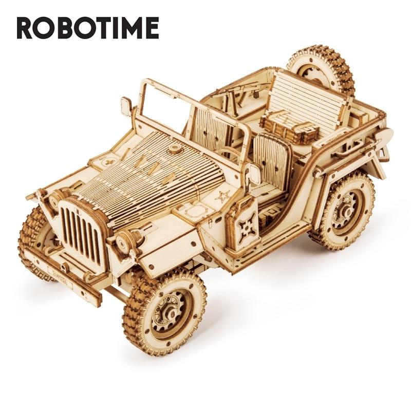 Robotime 1:18 369 قطعة ريترو لتقوم بها بنفسك المنقولة ثلاثية الأبعاد الجيش جيب خشبية لغز لعبة الجمعية لعبة هدية للأطفال المراهقين الكبار MC701