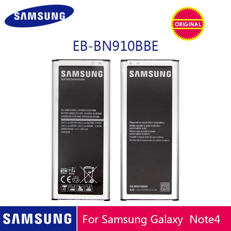 SAMSUNG оригинальный аккумулятор для телефона EB-BN910BBE 3220 мАч для Samsung Galaxy Note 4 N910 N910F N910A N910V N910P N910T N910H