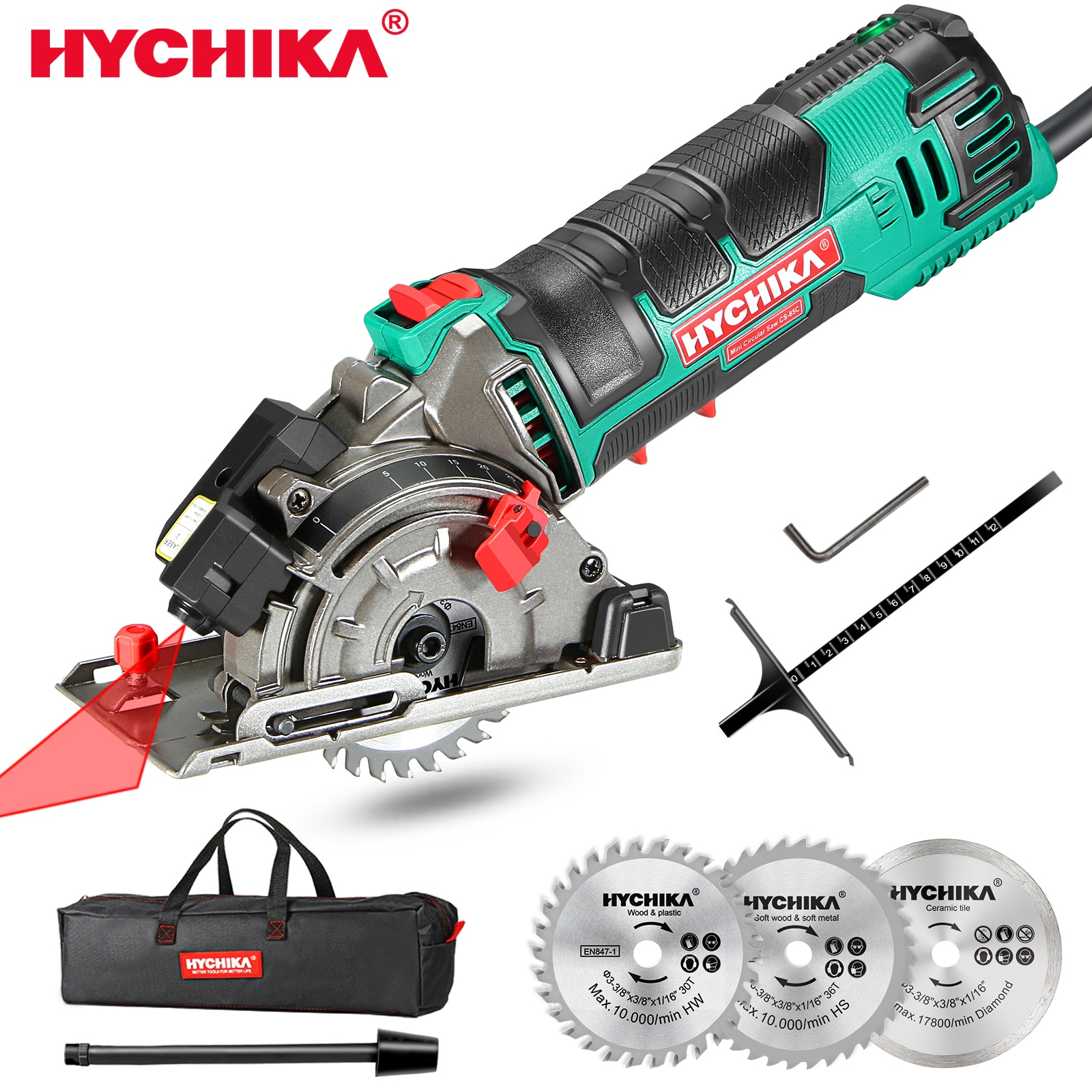 HYCHIKA 500W Electric Mini Circular Saw With Laser 120V 220V Multifunctional Electric Saw DIY Power