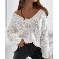 women solid hollow out ribbed knitted sweater 2020 autumn winter v neck tops casual female long sleeve loose pullover sweater