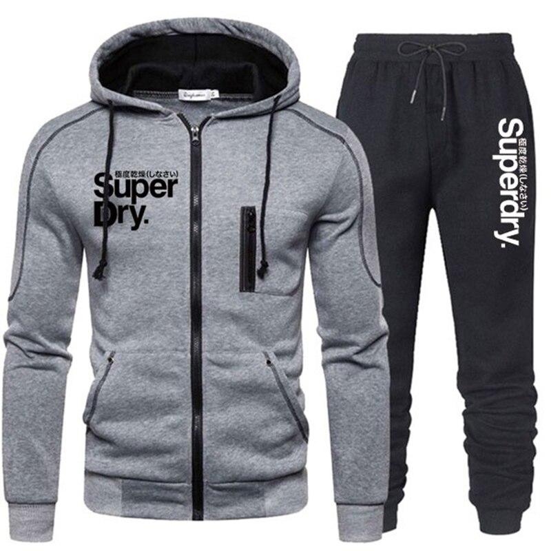 Chándal de dos piezas para Hombre, ropa deportiva, Sudadera con capucha, chaqueta...