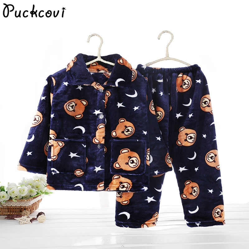 Pijama infantil inverno Kids Pijama set Coral fleece Baby boy girl printing Pajamas Children flannel sleepwear Infant pajamas