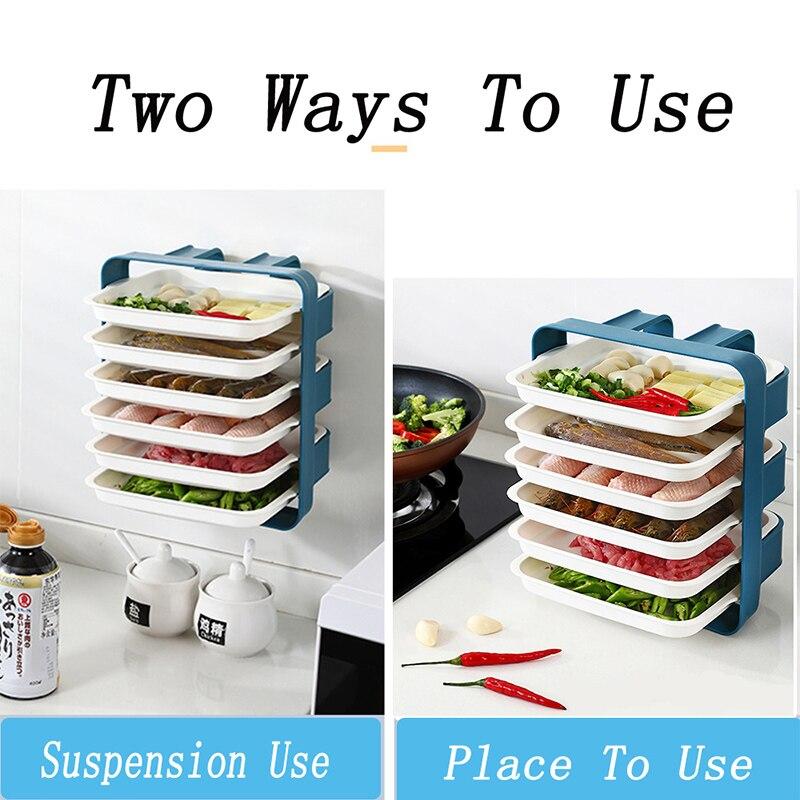 Kitchen Preparation Plate Organizer 6-Layer Cooking Dishes Tray Multi-functional Wall Mount Racks Kitchen Supplies Storage Set