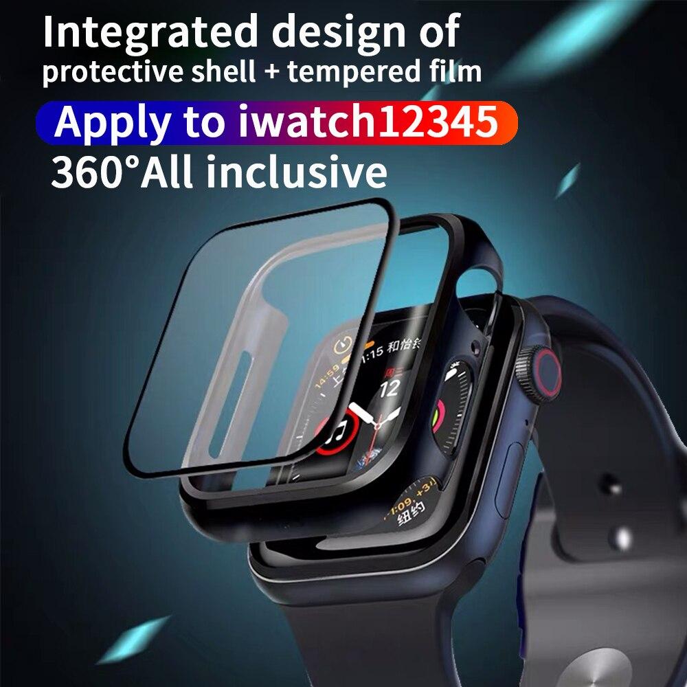 Funda + vidrio templado para Apple Watch 44mm 40mm Series 5 4 Protector de pantalla funda de protección para iwatch Series 3 2 1 42mm38mm