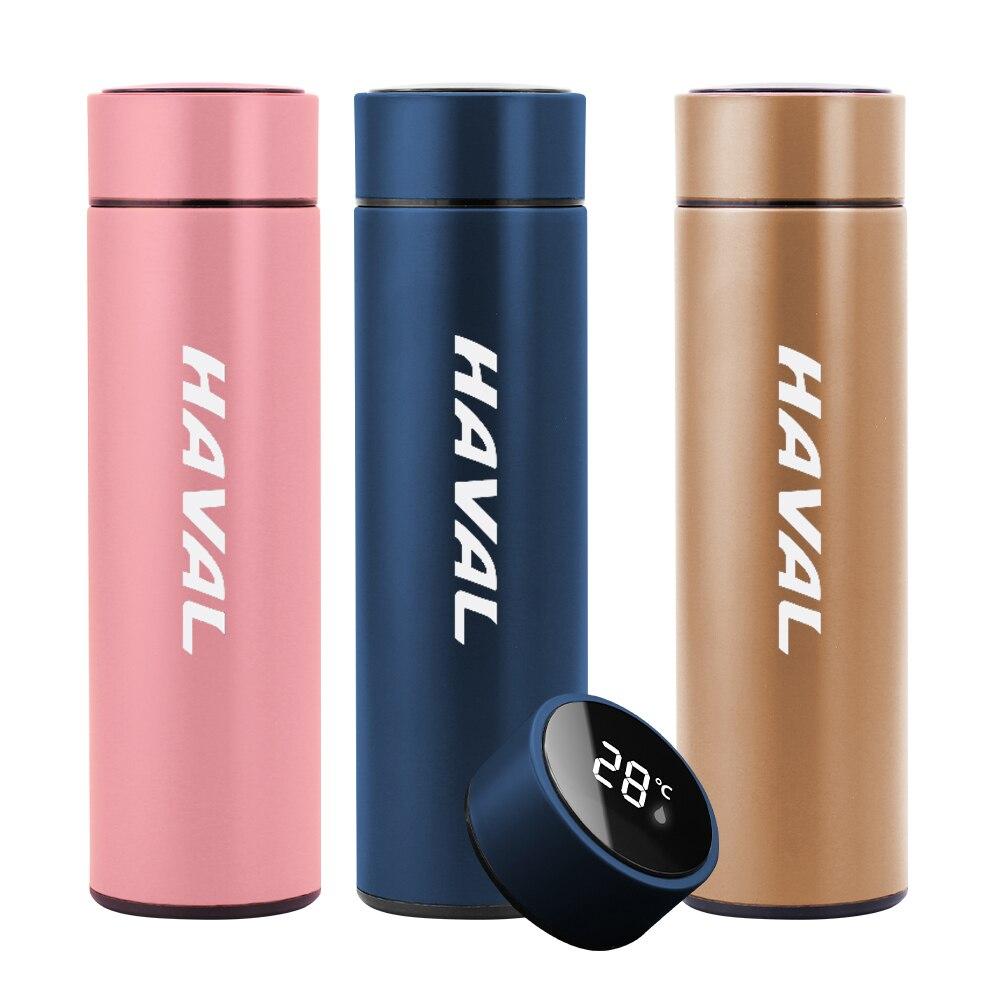 Автомобильный вакуумный колба с логотипом для Great Wall Haval H6, H7, H2, 500 мл, термометр из нержавеющей стали, Изолированная бутылка для воды, кофейна...