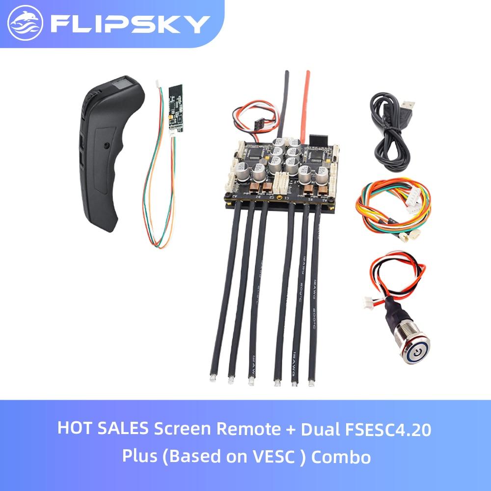 Flipsky-جهاز تحكم عن بعد مع شاشة عرض وجهاز تحكم عن بعد للوح التزلج الكهربائي ، وشاشة تحكم مزدوجة FSESC4.20 Plus (تعتمد على VESC) ، وإكسسوارات لوح التزلج