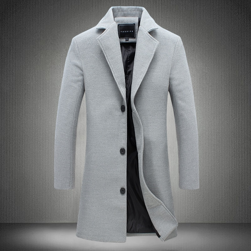Autumn and Winter New Mens Solid Color Casual Business Woolen Coats / Mens High-end Brand Slim Long Woolen Coat Male Jacket