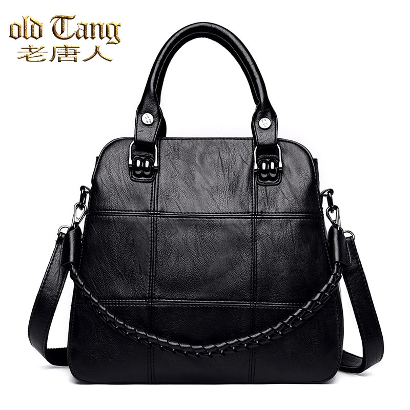 قديم تانغ الموضة ببساطة حقيبة كروسبودي للنساء 2020 الشتاء بلون بولي Leather جلدية الكتف حقيبة ساعي سيدة حقيبة يد للسفر