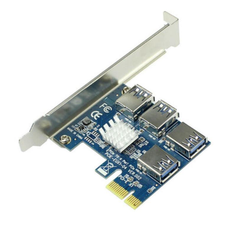 بطاقة PCIE PCI-E PCI Express Riser 1x إلى 16x1 إلى 4 USB 3.0 مهايئ توزيع مضاعف لأجهزة تعدين البيتكوين
