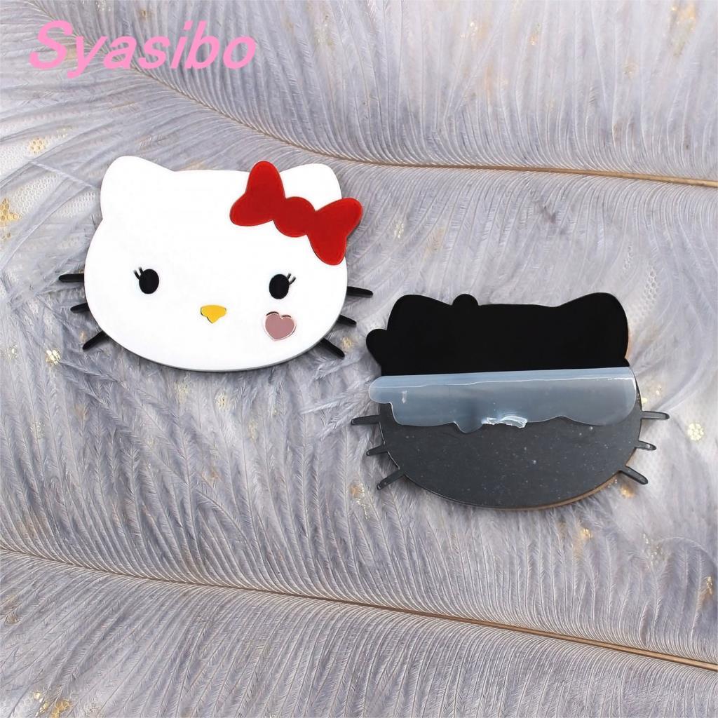 (1 pieza) gato acrílico de 57mm adornos de fiesta gato blanco con Lazo Rojo para broche (sin pin) Cutout-AC1616 láser
