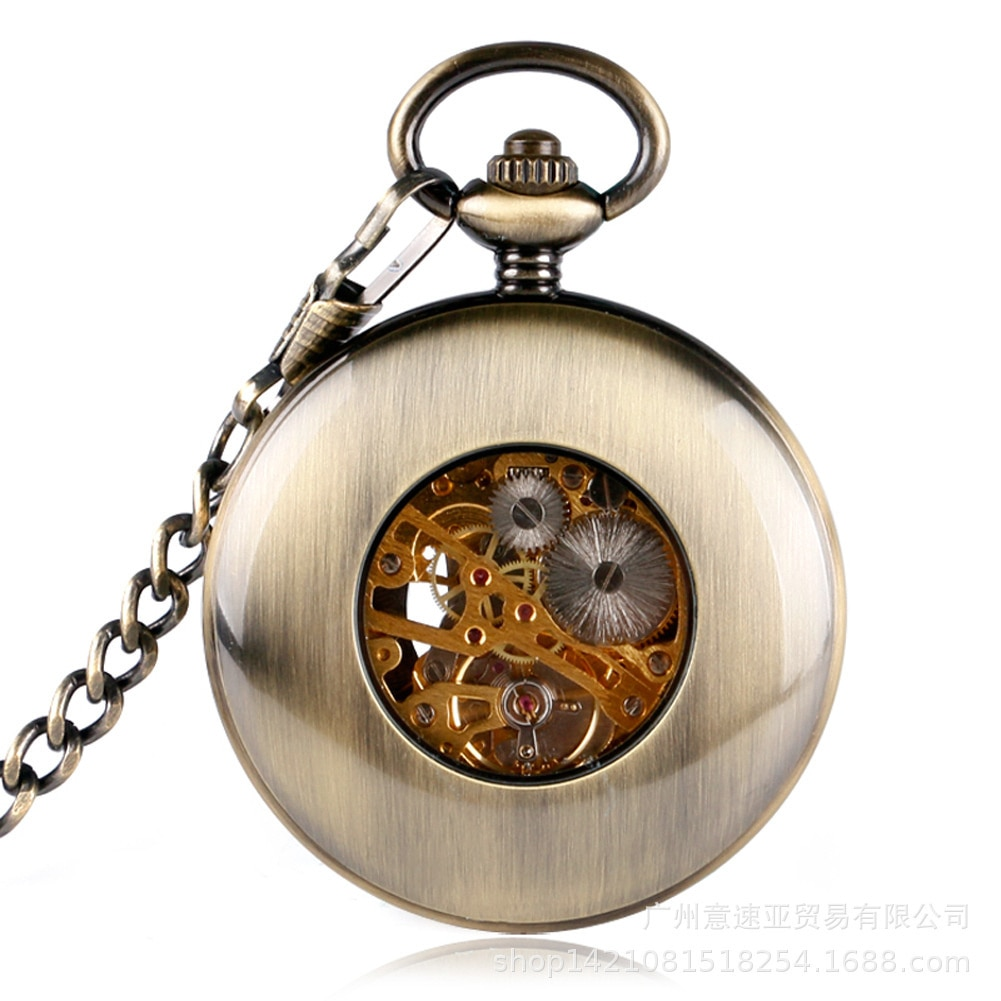 Wooden Ring Skeleton Pocket Watch Roman Digital Manual Mechanical Pocket Watch New Fashion Карманные Часы enlarge
