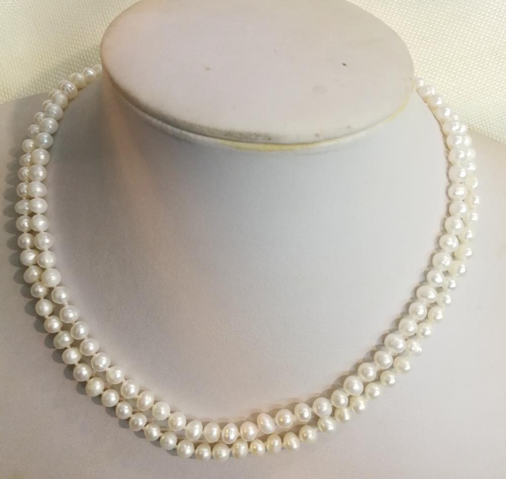 2 linhas 5x6mm branco pérola colar real natural pérola de água doce feminino jóias 14 17 17 17 35 35cm 43cm