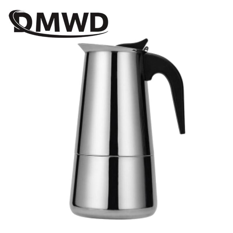 DMWD 2/4/6/9 tazas de acero inoxidable Moka café espresso cafetera para cocina de hornillos de hervidores cafetera cafetier herramientas de cocina