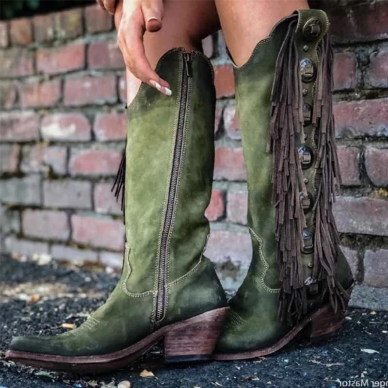 2020 النساء منتصف العجل الأحذية القوزاق الأحذية النسائية Vintage جلد ميد الكعوب امرأة المصارع شرابات أحذية البريدي الإناث غير رسمية