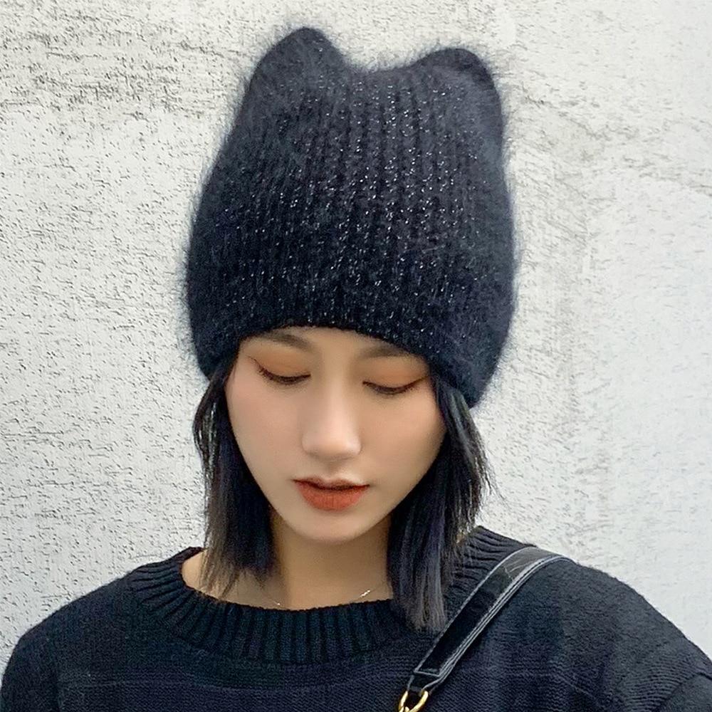 Cat ear hat winter hat female rabbit ear wool hat ear protection knitted hat fashion outing cute hat