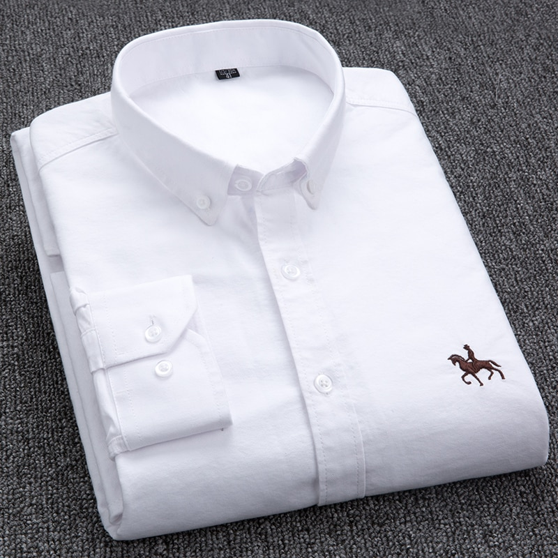 100% Cotton Oxford Shirt Men's Long Sleeve Embroidered Horse Casual Without Pocket Solid Yellow Dres