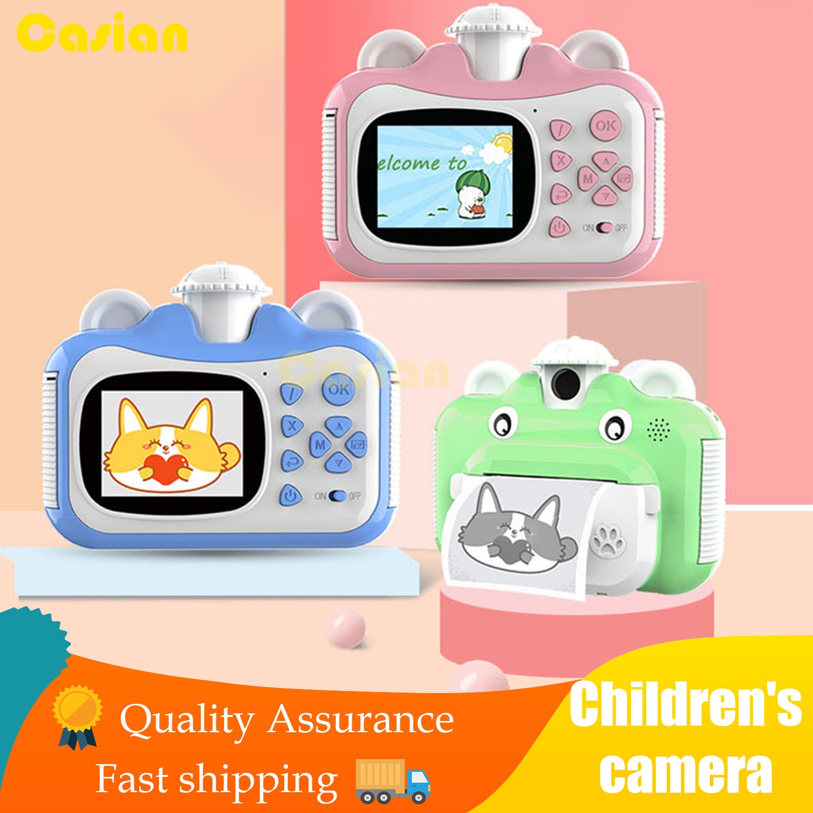 Children Toys Instant Print Camera for Child Rotatable Lens 1080P HD Mini camera Kids with Thermal Print Paper Stickers Gift Kid