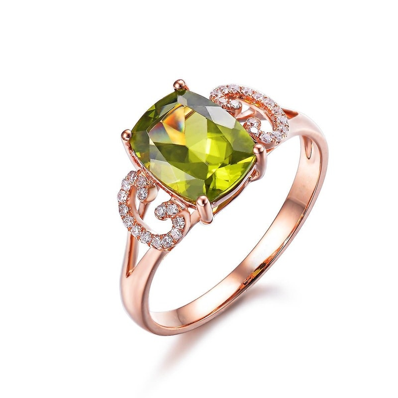 14k Rose Gold Peridot Edelstein Ringe Für Frauen Rechteck Cut Bunte Stein Offene Einstellbare Fingerring, Verlobung, Hochzeit Geschenk