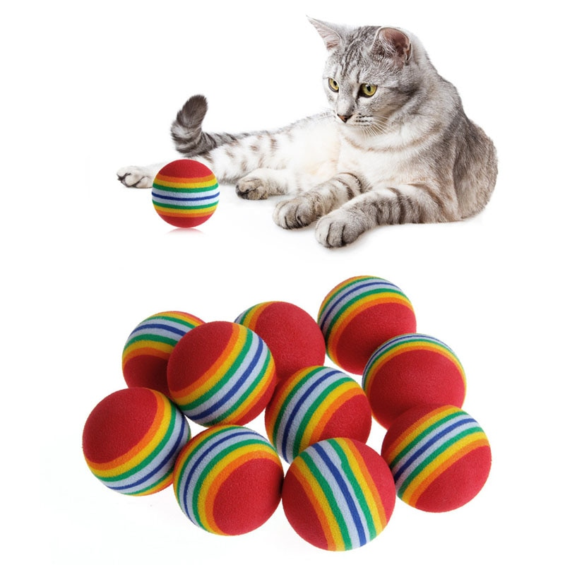 1Pcs Rainbow Ball Cat Toy Colorful Interactive Pet Kitten Scratch EVA For Training Supplies