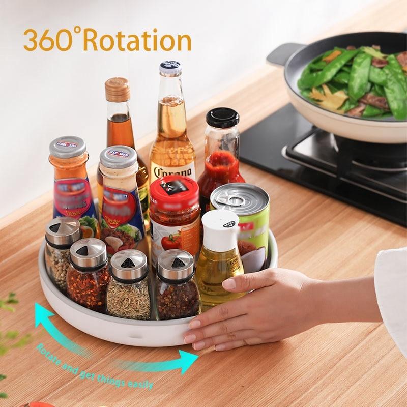 Rotating Seasoning Storage Rack Multi-function Organizer Cosmetics Shelf Oilproof Non-slip Kitchen Supplies Holder Accessories