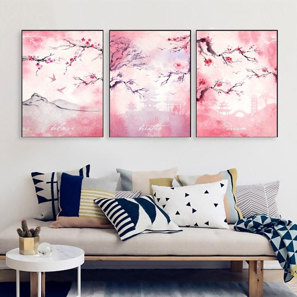 Cherry blossoms Sakura Poster Canvas Print Home Decor Wall Art Decor No Frame