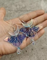 luna moth iridescent statement earrings laser cut acrylic