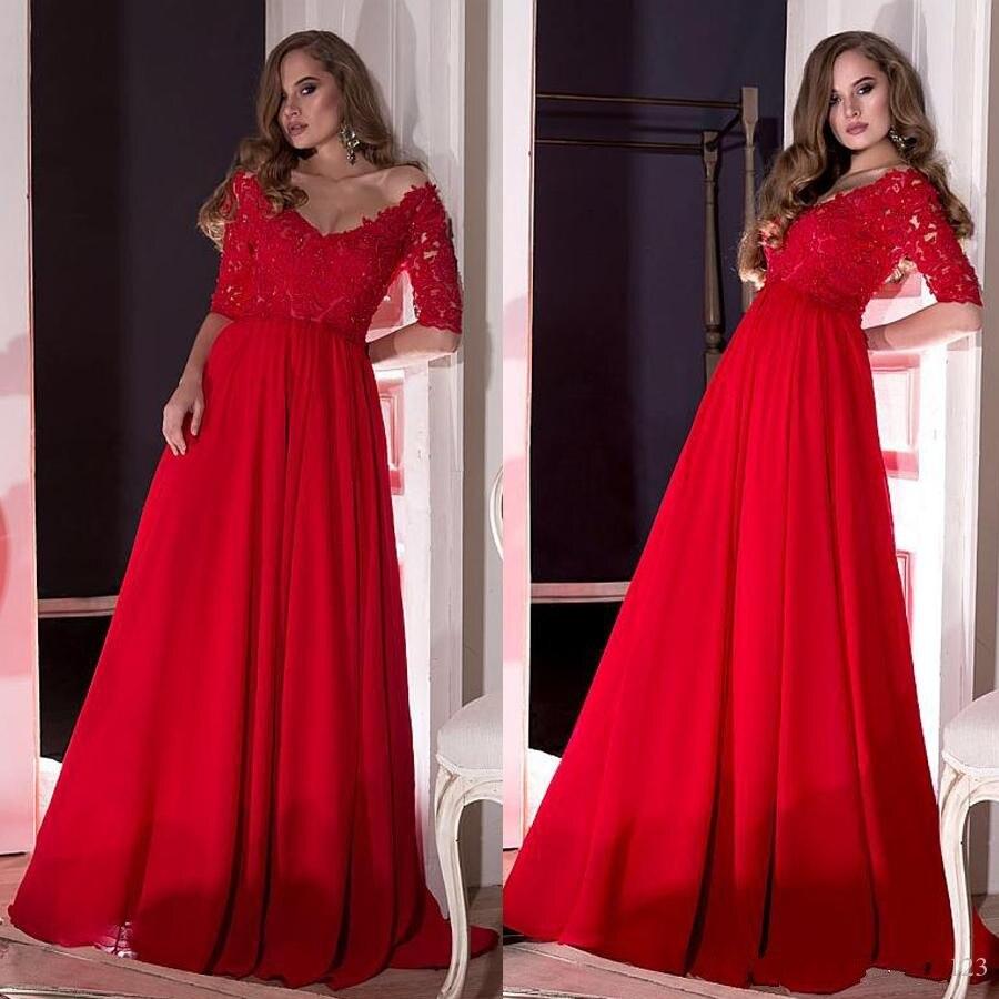 Vestido De Fiesta rojo De media manga con escote en V, Vestidos...