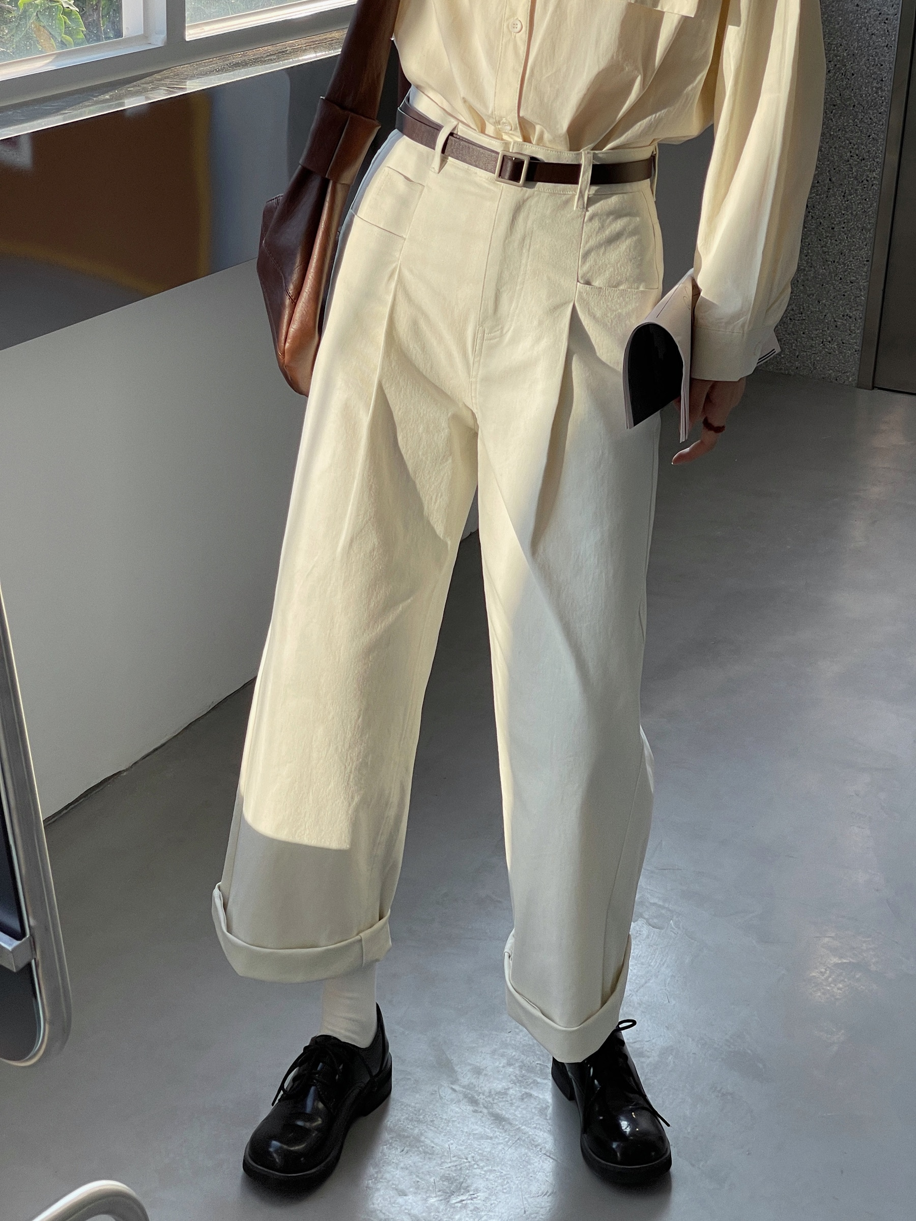 Women's Casual Pants Versatile Cream Apricot New Early Autumn Clothes In 2021 Loose Straight Lazy Wi