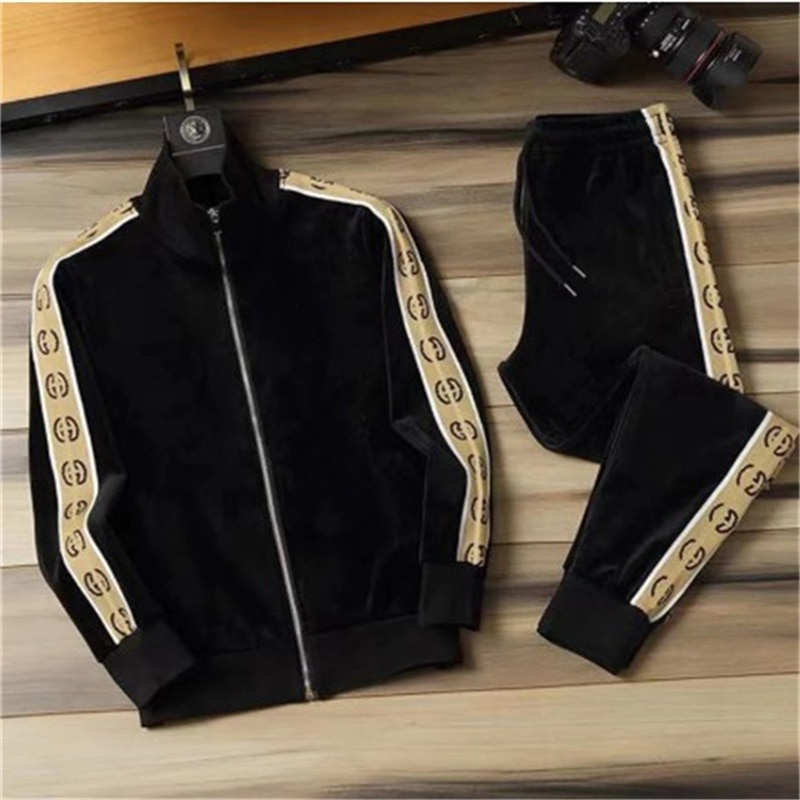 2021 new sports and leisure suit men's stand-up collar sweater trousers spring and autumn sportswear two-piece suit in stock