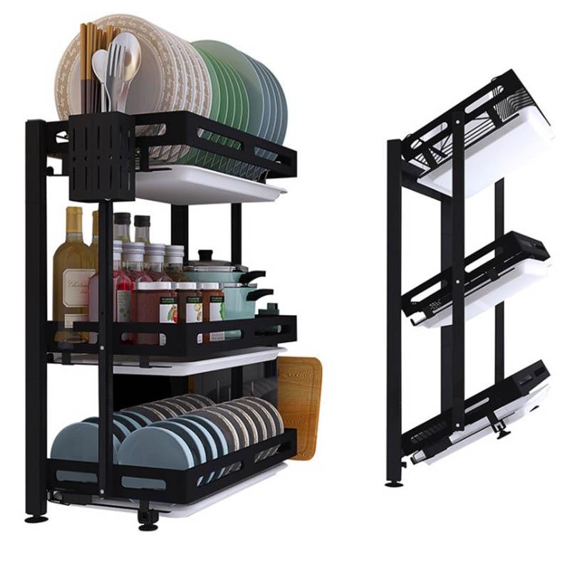 رف أطباق قابل للطي, رف أطباق من الصلب المقاوم للصدأ بتصميم أسود للمطبخ وحامل أدوات المائدة وحامل أطباق مثبت على الحائط