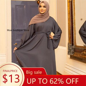 Abaya Dubai Turkey muslim Fashion hajiab dress kaftan Islam clothing  Simple Basic Middle East Turkey Plain plus Size Robe Dress