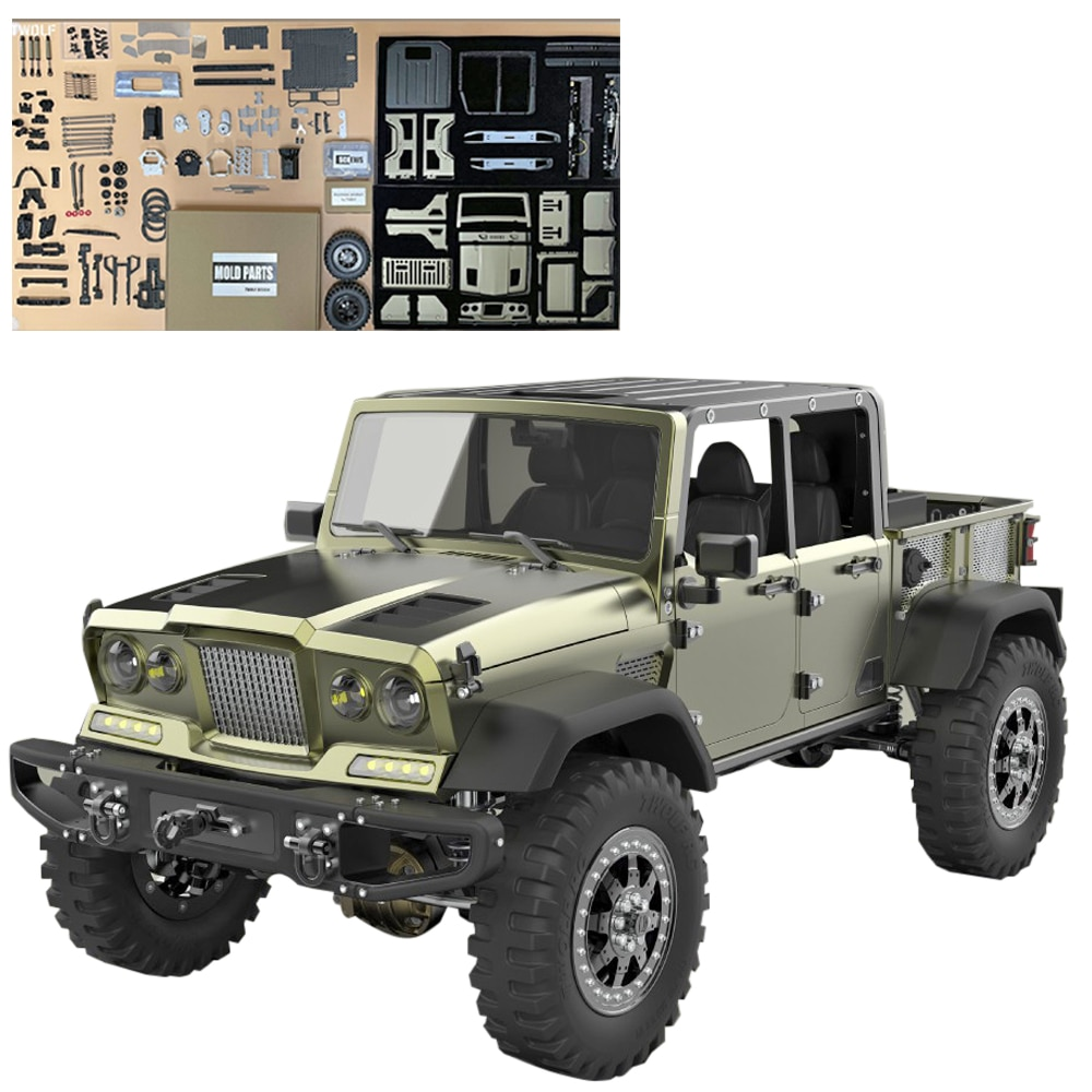 TWOLF TW-715 1:10 RC على الطرق الوعرة مركبة الزاحف 4WD أربعة أبواب رافعة شاحنة خفيفة لنقل السلع مع محرك V8 (لا المعدات الإلكترونية)-مجموعة الإصدار