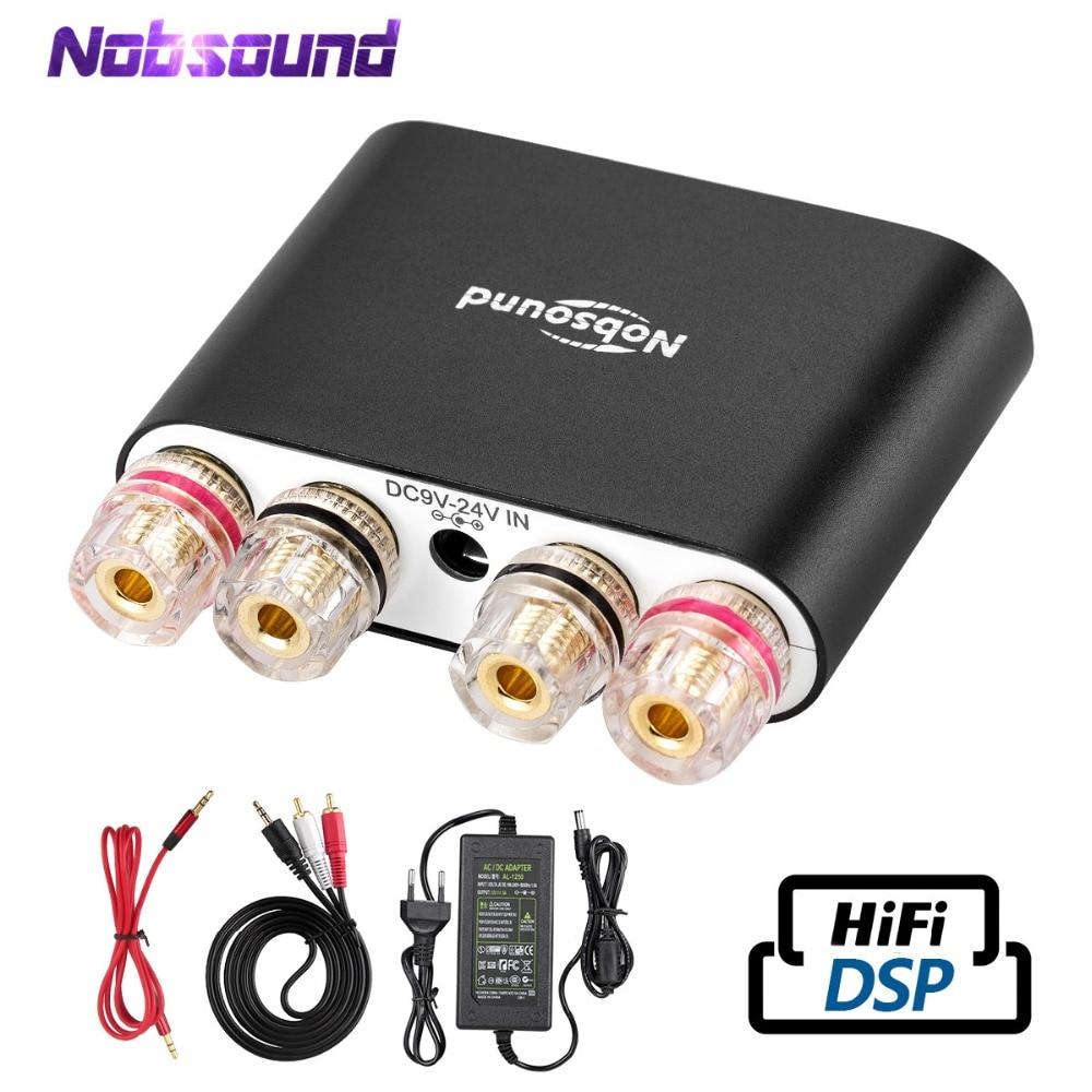 2021 Nobsound مرحبا فاي مكبرات الصوت الرقمية ستيريو صغيرة DSP بلوتوث 5.0 الصوت المنزلي سطح المكتب مكبر كهربائي 50 واط * 2 أسود