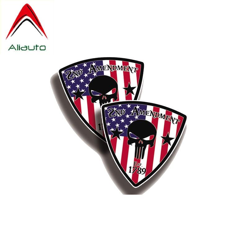 Aliauto 2 X EE. UU. Punisher 2nd enmienda pegatina PVC para coche divertido etiqueta para Chevrolet Audi A5 A6 10CM * 10CM
